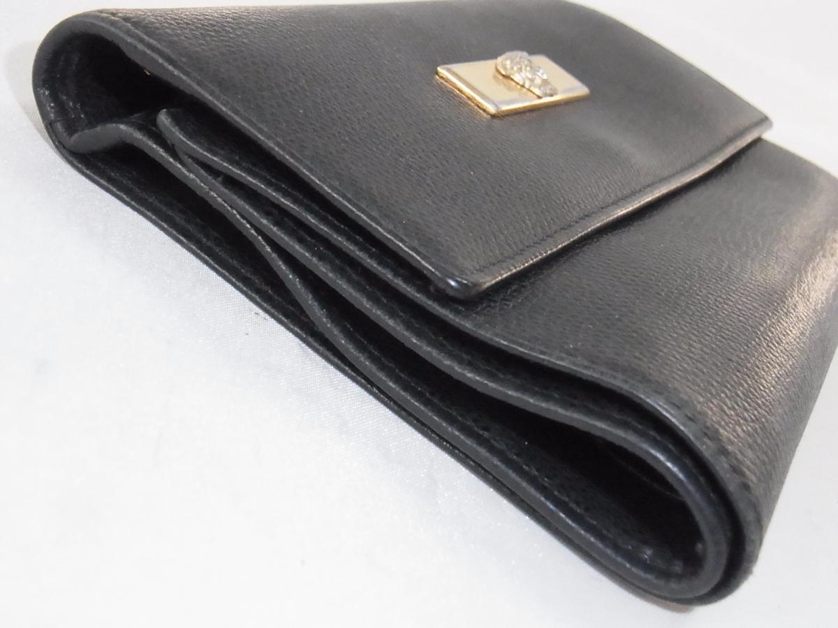 ヴェルサーチ VERSACE 三つ折りミドルサイズ長財布 メデューサ ブラック レザー 中古品_画像4