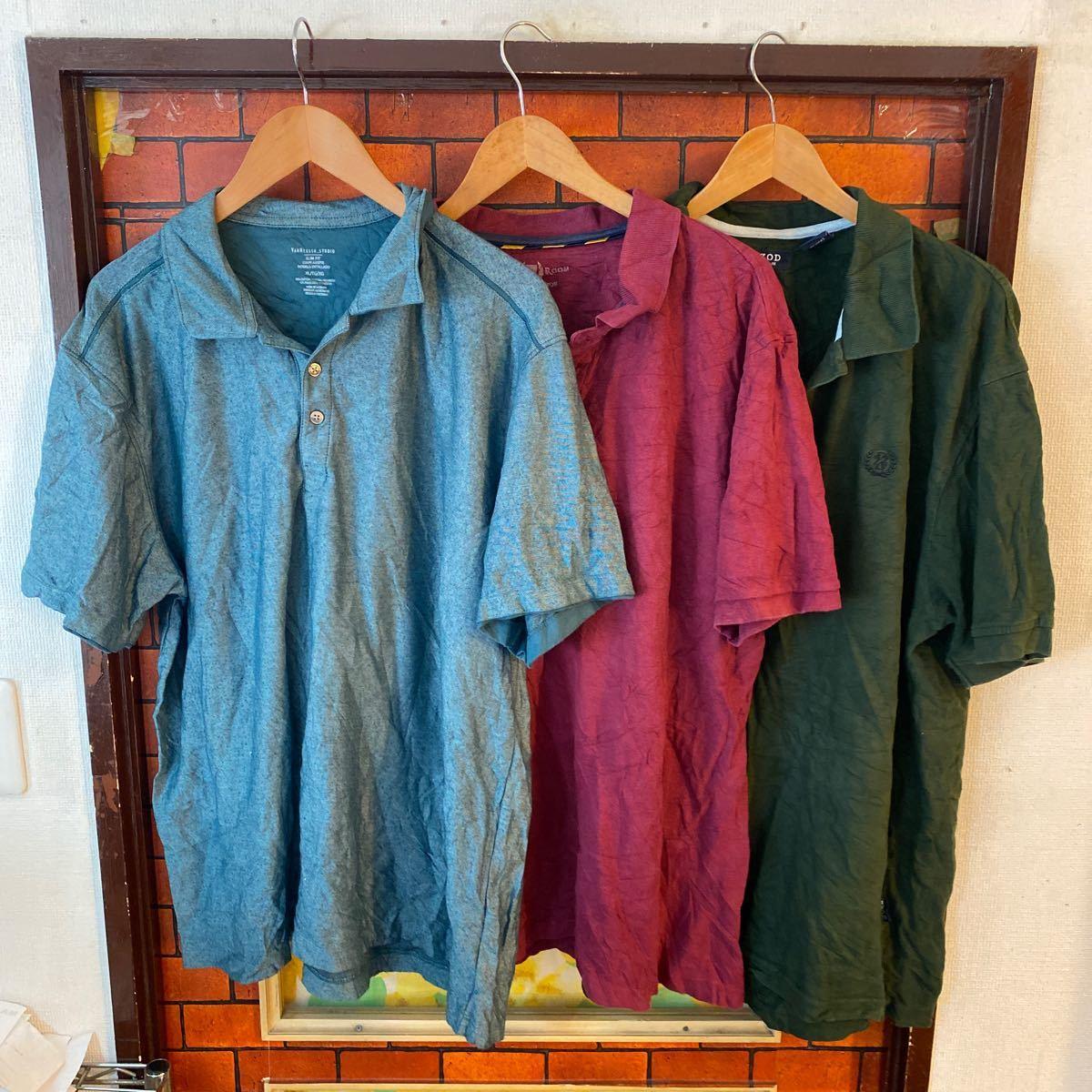 1円スタート ポロシャツ クールビズ まとめ売り 大量セット 6枚セット ワーク スタッフ アメリカ古着 XL _画像1