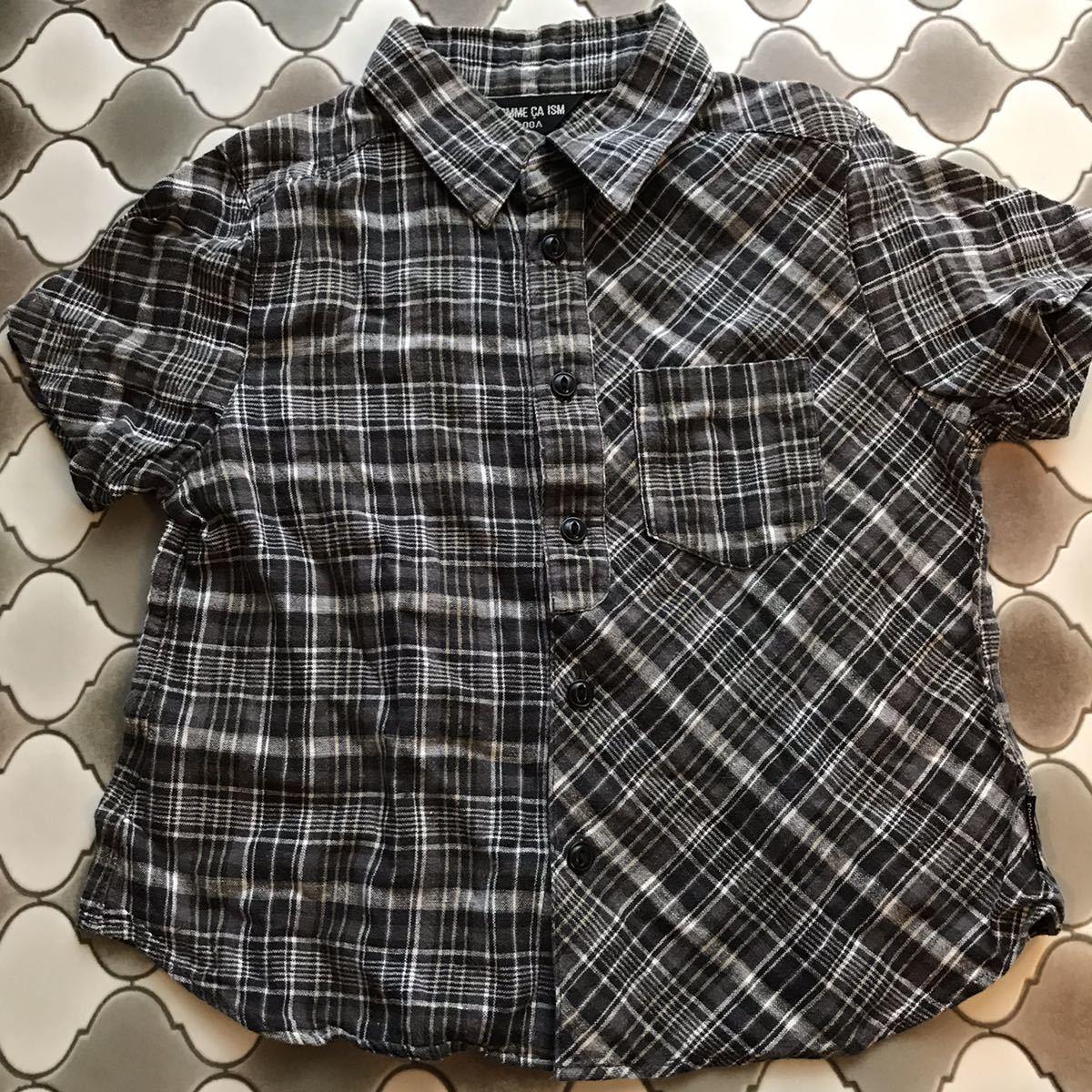 コムサイズム 100A 半袖シャツ チェックシャツ