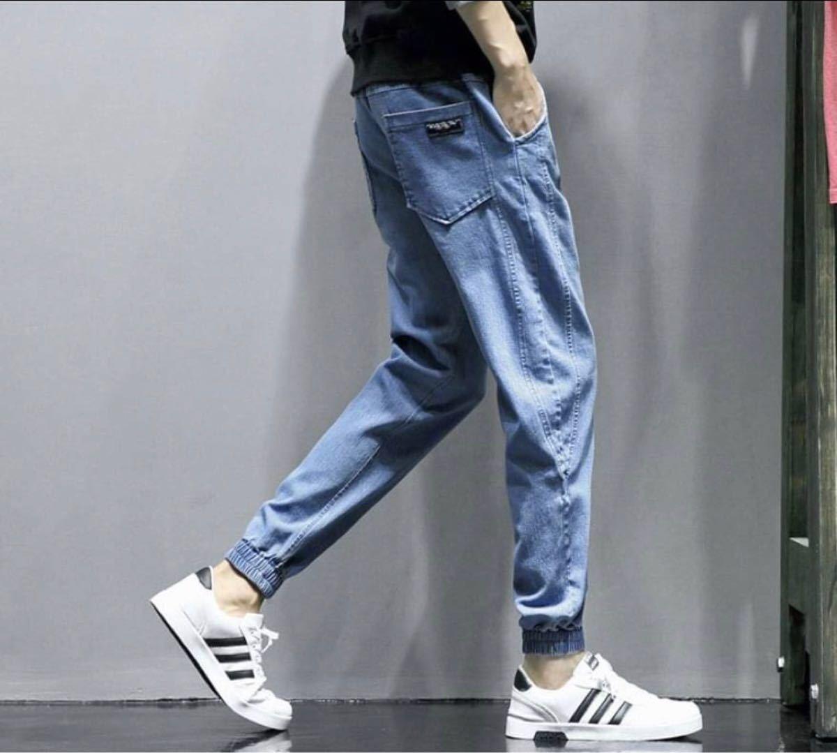 デニム ジーンズ ジョガーパンツ パンツ ストレッチ 男女兼用 スウェットパンツ