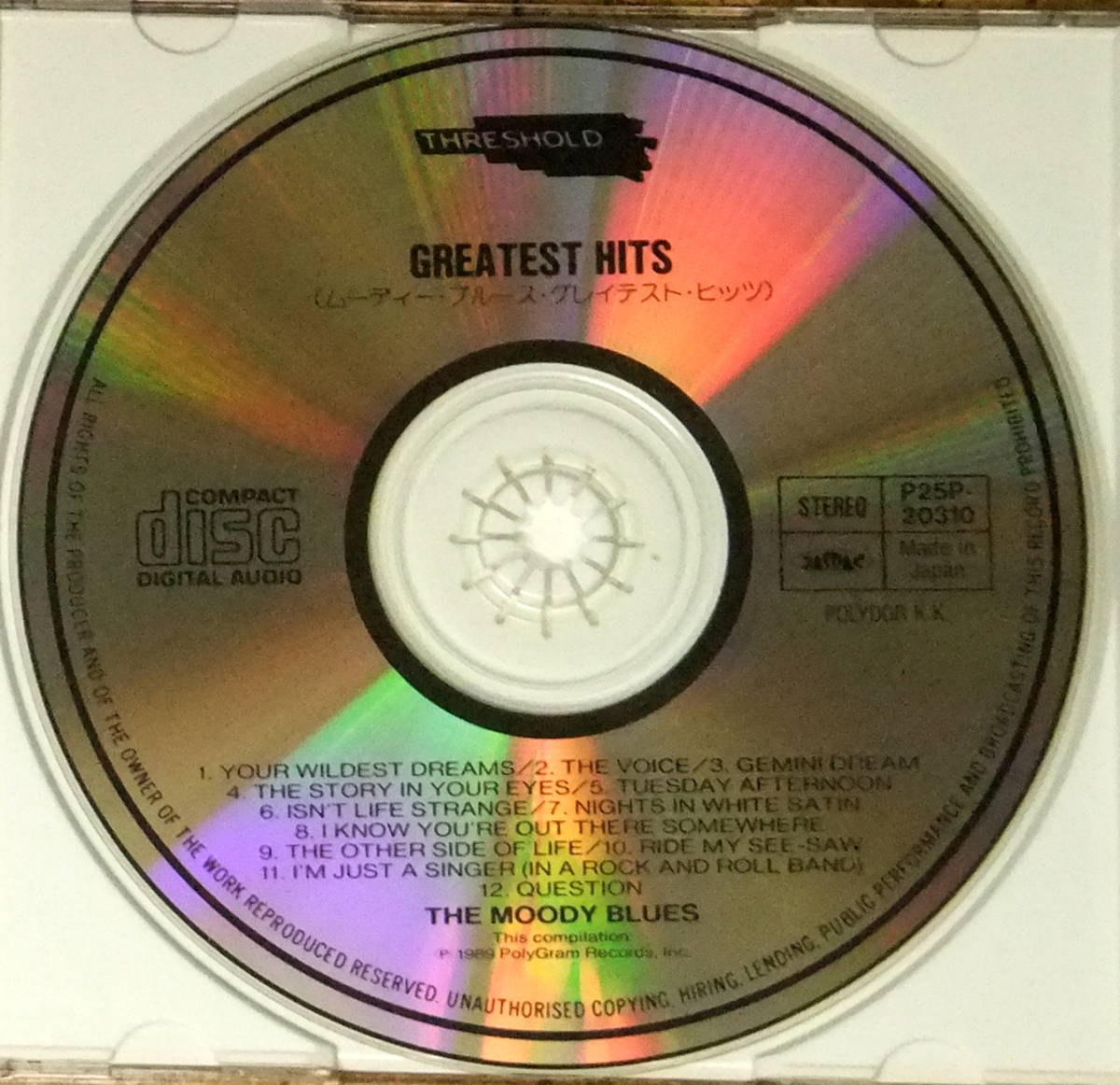 ムーディー・ブルース/グレイテスト・ヒッツ■日本盤,P25P-20310■The Moody Blues/Greatest Hits■サテンの夜,魂の叫び,神秘な世界_画像2