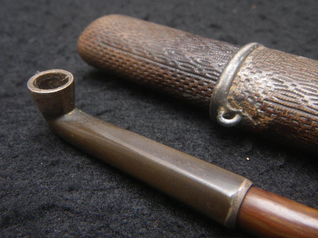 古いキセル 筒付 六角 煙管 日本 時代物 喫煙具 堤物 煙草 和パイプ Japanese pipe