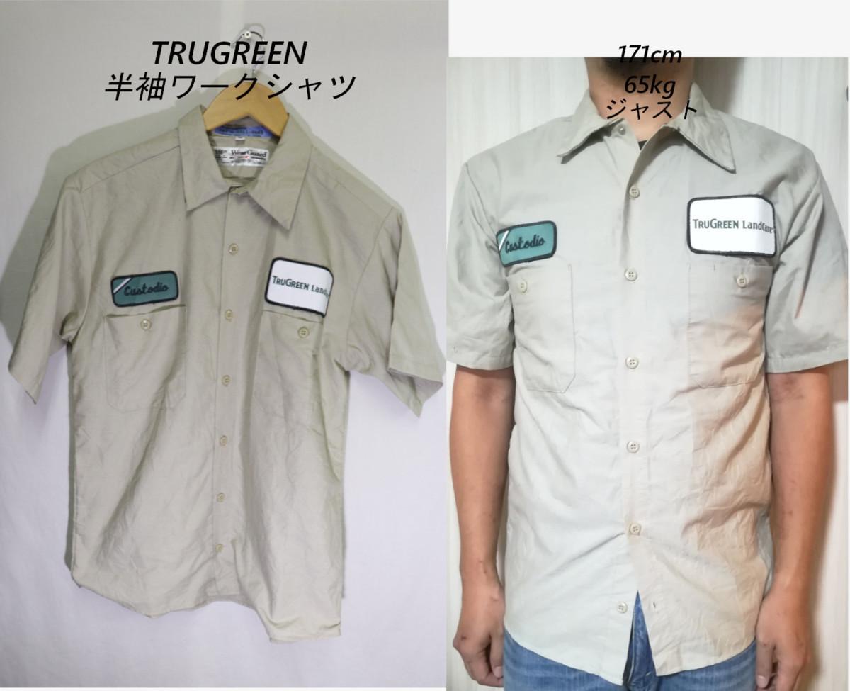 【メンズ】TRUGREEN半袖ワークシャツUSA古着アメカジデザイン良いM_画像1