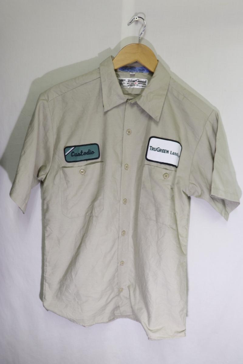 【メンズ】TRUGREEN半袖ワークシャツUSA古着アメカジデザイン良いM_画像2