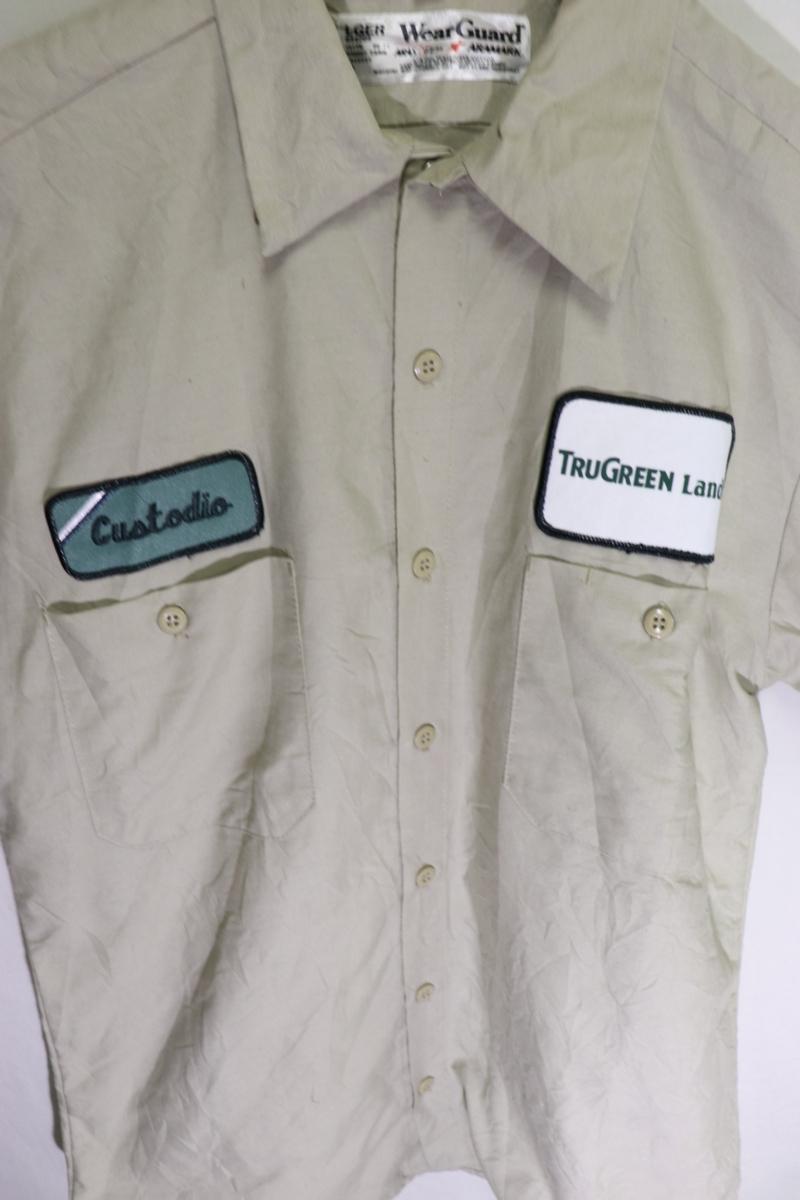 【メンズ】TRUGREEN半袖ワークシャツUSA古着アメカジデザイン良いM_画像3