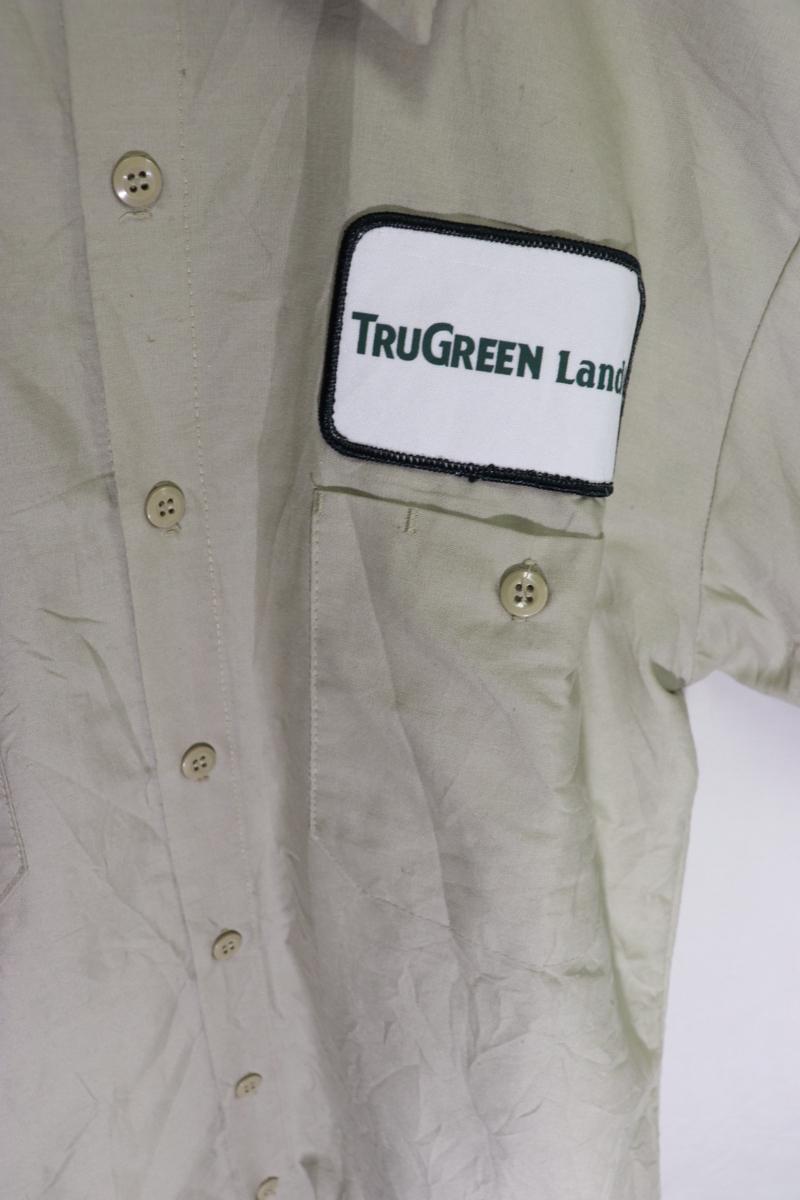 【メンズ】TRUGREEN半袖ワークシャツUSA古着アメカジデザイン良いM_画像4