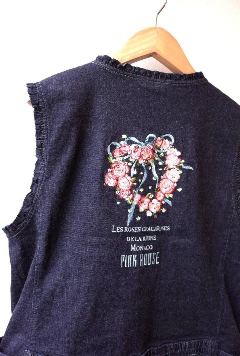 ★タグ有 未使用 2020年 ピンクハウス *グレースフルローズ刺繍ベスト//定価¥33.000* 古着のgplus広島 2008r1_画像6