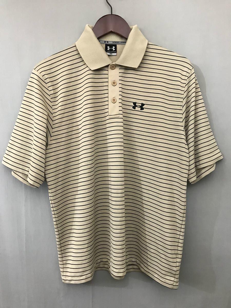 アンダーアーマー UNDER ARMOUR 半袖 ポロシャツ メンズ ボーダー ゴルフウェアー MDサイズ_画像2