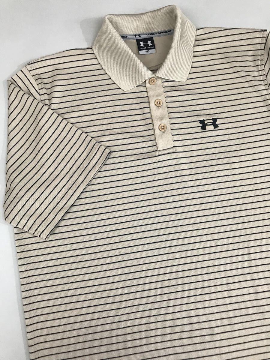 アンダーアーマー UNDER ARMOUR 半袖 ポロシャツ メンズ ボーダー ゴルフウェアー MDサイズ_画像1