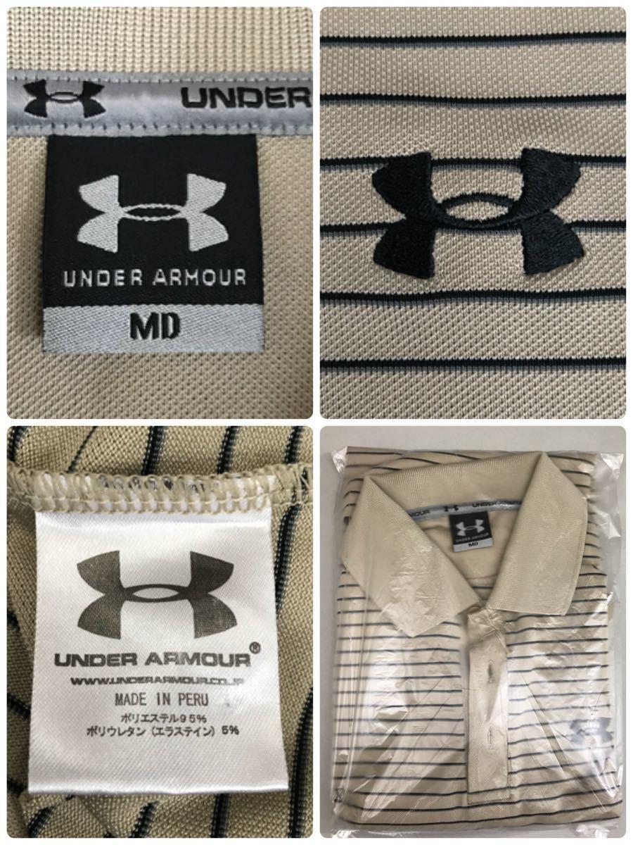 アンダーアーマー UNDER ARMOUR 半袖 ポロシャツ メンズ ボーダー ゴルフウェアー MDサイズ_画像4