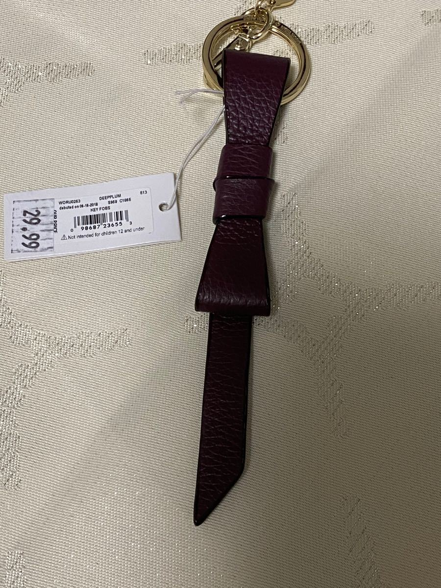 ケイトスペード  kate spade リボン型 キーホルダー  ボルドー