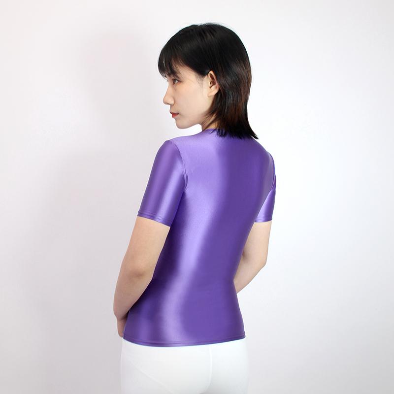 【2020夏最新作】コスプレ衣装 半袖レオタード 伸縮性あり レースクイーンレオタード パープル Mサイズ_画像3