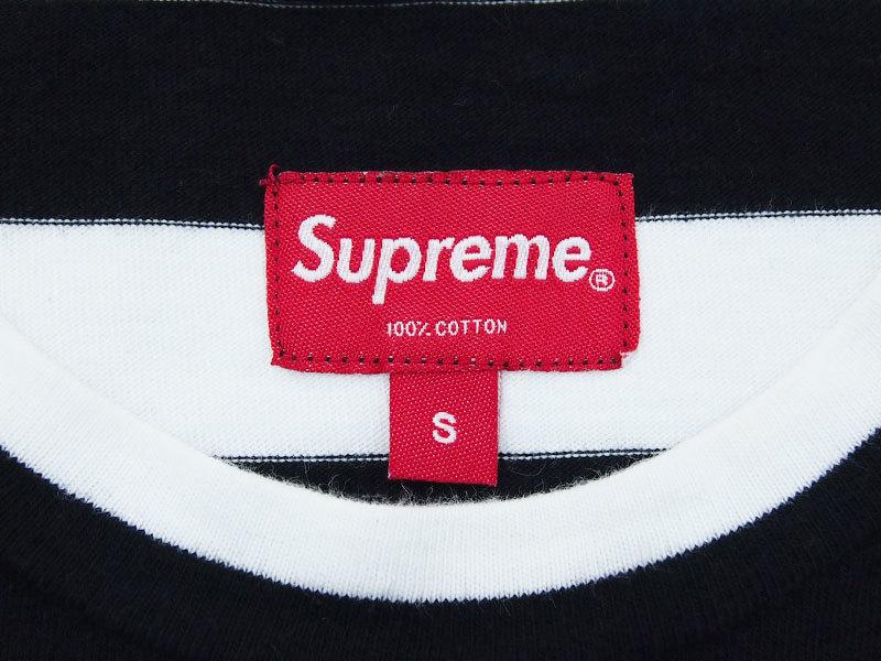 Supreme Medium Stripe L/S Tee ストライプ 長袖 Tシャツ ボーダー ロンT カットソー 黒 ブラック S シュプリーム_画像4