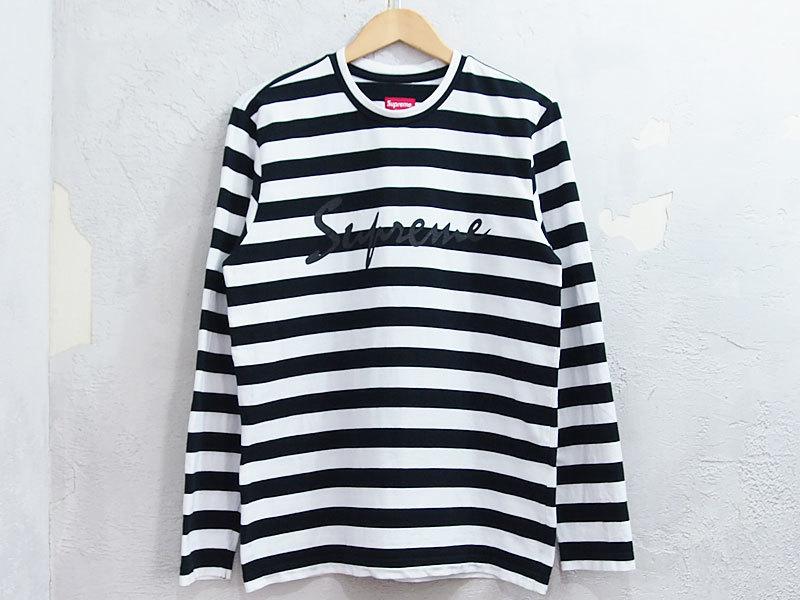 Supreme Medium Stripe L/S Tee ストライプ 長袖 Tシャツ ボーダー ロンT カットソー 黒 ブラック S シュプリーム_画像1