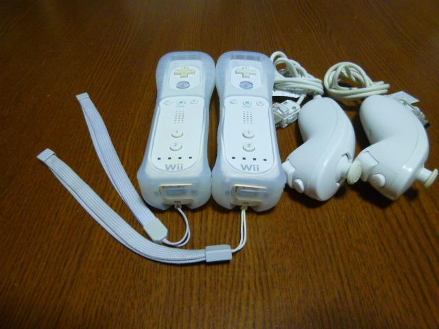 RSJN024【送料無料】Wii リモコン ジャケット ストラップ  ヌンチャク 2個セット ホワイト 白(動作良好 クリーニング済)白