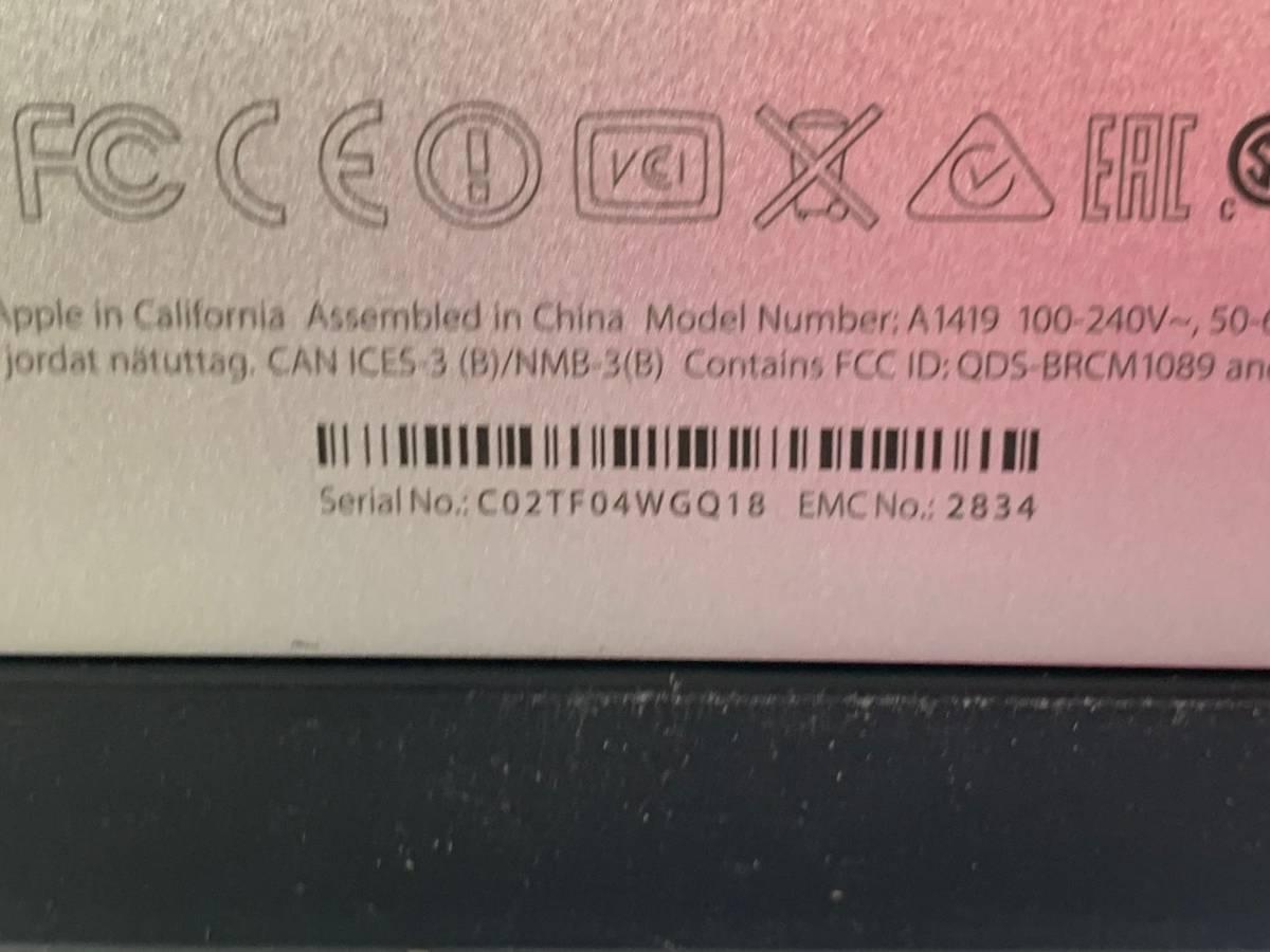 179 メモリ増設 Apple iMac Late2015 5K 27インチ MK472J/A CPU Core i5 3.2GHz メモリ 16GB ストレージ 1TB Fusion Drive 中古_画像4