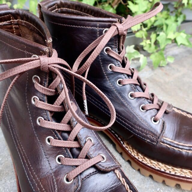 [ブヒシューズ] カスタム/24.5cm/こげ茶/革靴/ブーツ/モックトゥ/ハンドソーンウェルト/ビンテージブーツ/ビンテージ靴/ノルベジェーゼ_画像7