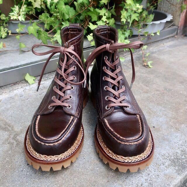[ブヒシューズ] カスタム/24.5cm/こげ茶/革靴/ブーツ/モックトゥ/ハンドソーンウェルト/ビンテージブーツ/ビンテージ靴/ノルベジェーゼ_画像5