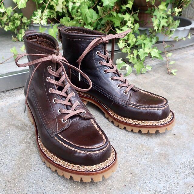 [ブヒシューズ] カスタム/24.5cm/こげ茶/革靴/ブーツ/モックトゥ/ハンドソーンウェルト/ビンテージブーツ/ビンテージ靴/ノルベジェーゼ_画像1