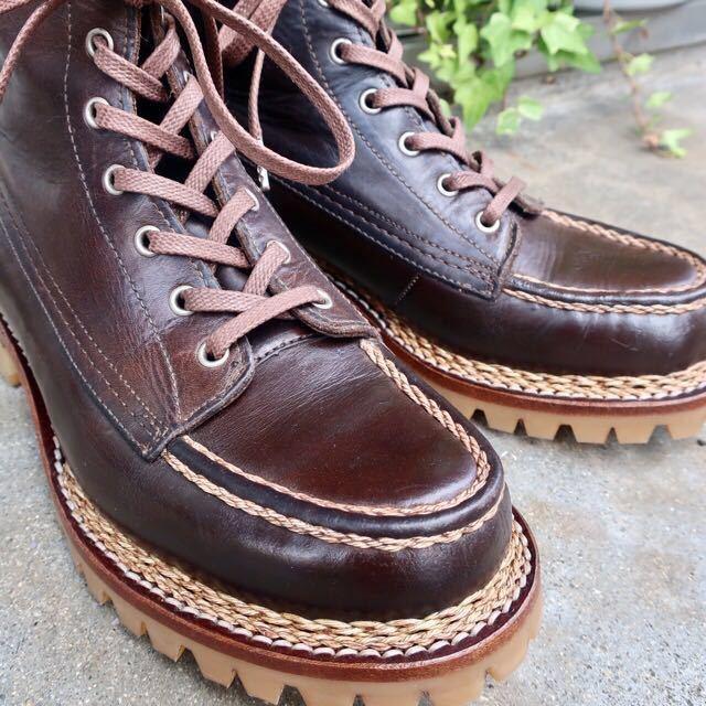 [ブヒシューズ] カスタム/24.5cm/こげ茶/革靴/ブーツ/モックトゥ/ハンドソーンウェルト/ビンテージブーツ/ビンテージ靴/ノルベジェーゼ_画像2