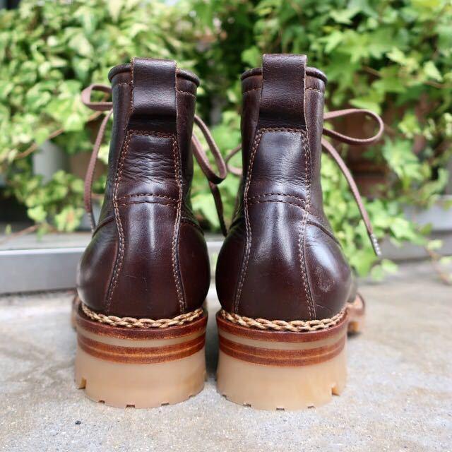 [ブヒシューズ] カスタム/24.5cm/こげ茶/革靴/ブーツ/モックトゥ/ハンドソーンウェルト/ビンテージブーツ/ビンテージ靴/ノルベジェーゼ_画像4