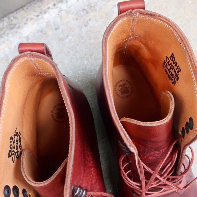 [ブヒシューズ] カスタム/26cm/バーガンディ/革靴/ブーツ/プレーントゥ/ハンドソーンウェルト/ビンテージブーツ/ビンテージ靴/レザーブーツ_画像8