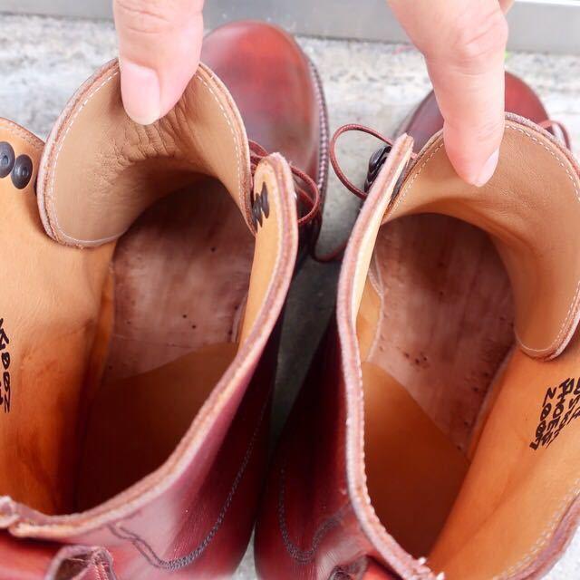 [ブヒシューズ] カスタム/26cm/バーガンディ/革靴/ブーツ/プレーントゥ/ハンドソーンウェルト/ビンテージブーツ/ビンテージ靴/レザーブーツ_画像9