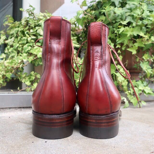 [ブヒシューズ] カスタム/26cm/バーガンディ/革靴/ブーツ/プレーントゥ/ハンドソーンウェルト/ビンテージブーツ/ビンテージ靴/レザーブーツ_画像5