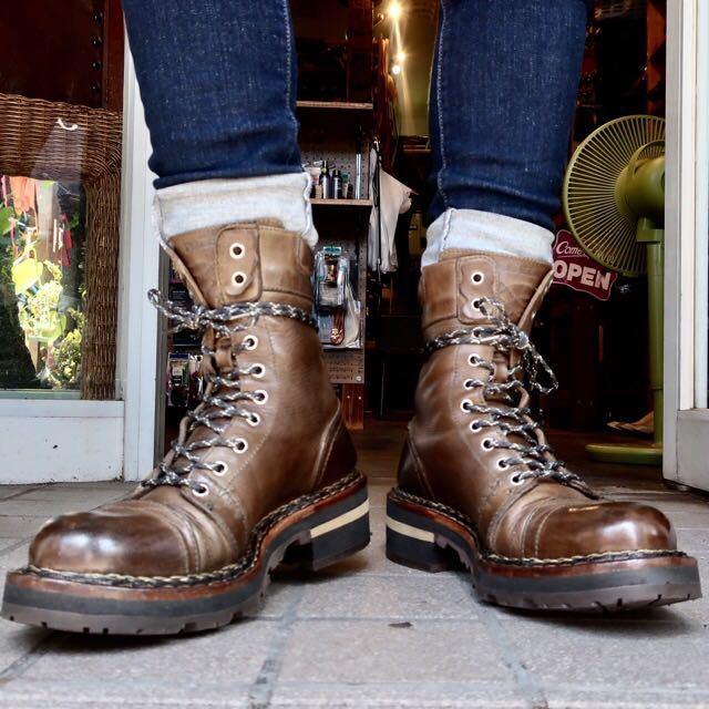[ブヒシューズ] カスタム/DIESEL/ディーゼル/約25-25.5cm/カーキ/革靴/ワークブーツ/ビンテージ/カスタムブーツ/ノルベジェーゼ_画像10
