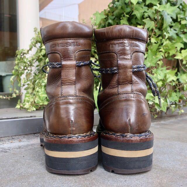 [ブヒシューズ] カスタム/DIESEL/ディーゼル/約25-25.5cm/カーキ/革靴/ワークブーツ/ビンテージ/カスタムブーツ/ノルベジェーゼ_画像5