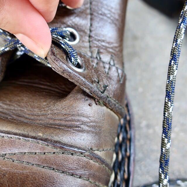 [ブヒシューズ] カスタム/DIESEL/ディーゼル/約25-25.5cm/カーキ/革靴/ワークブーツ/ビンテージ/カスタムブーツ/ノルベジェーゼ_画像8