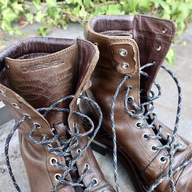 [ブヒシューズ] カスタム/DIESEL/ディーゼル/約25-25.5cm/カーキ/革靴/ワークブーツ/ビンテージ/カスタムブーツ/ノルベジェーゼ_画像6