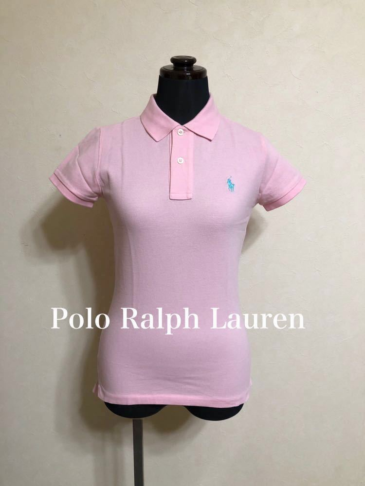 Polo Ralph Lauren ポロ ラルフローレン スキニー レディース 鹿の子 ポロシャツ トップス サイズXS 半袖 ピンク