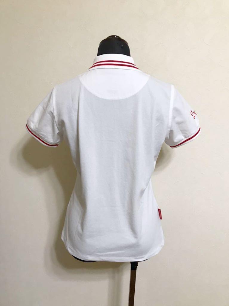 【美品】 le coq sportif GOLF ルコック ゴルフ ウェア レディース ドライ 鹿の子 ポロシャツ トップス サイズM 半袖 白 QGL2509 デサント_画像2