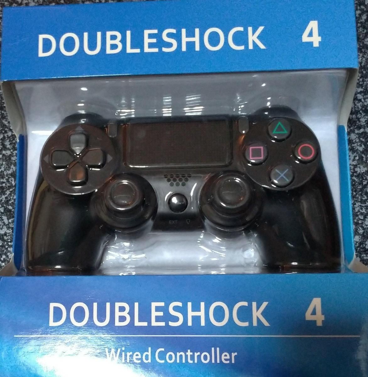 PS4 コントローラー 互換 サードパーティ ブラック ケーブルタイプ ブラック