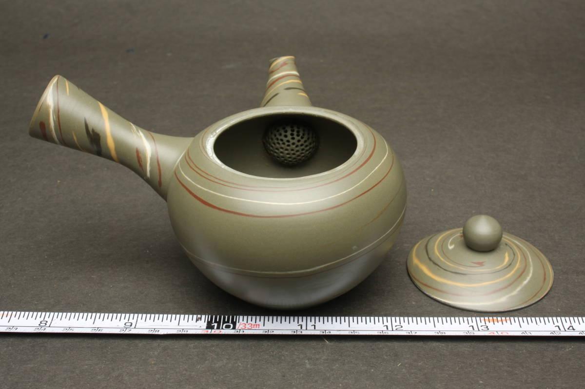 O3705 新品 常滑焼 水上曉山 緑泥 練込 茶器揃 茶器セット 急須 茶注 煎茶道具 湯呑茶碗 2客 箱_画像4