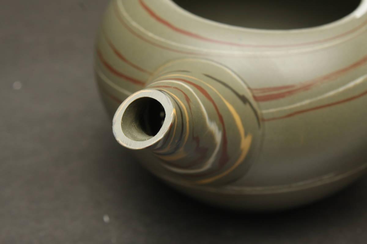 O3705 新品 常滑焼 水上曉山 緑泥 練込 茶器揃 茶器セット 急須 茶注 煎茶道具 湯呑茶碗 2客 箱_画像6