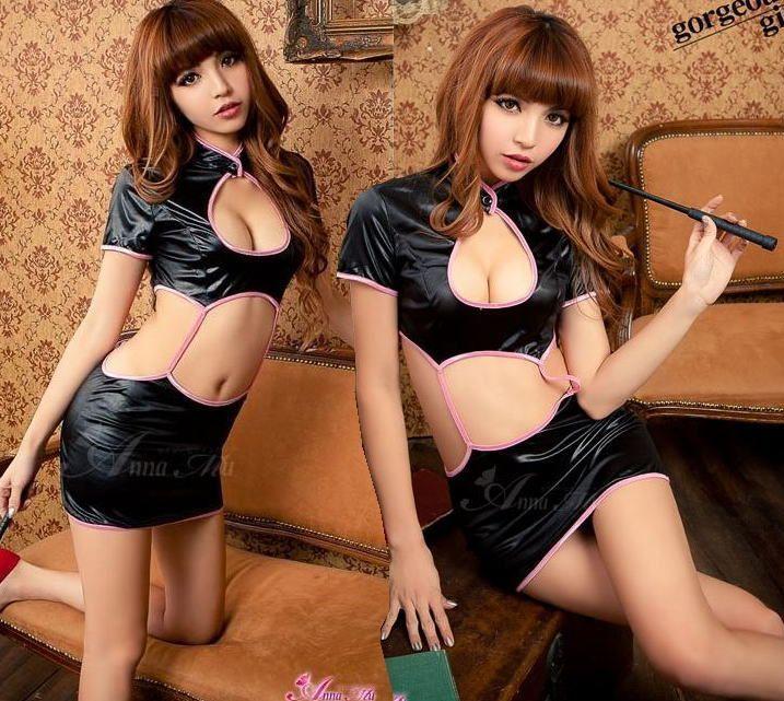 新品 未使用 送料無料1513プレイスーツ メタリックチャイナドレス セクシーコスプレ衣装 女性 コスチューム ミニワンピ_画像2