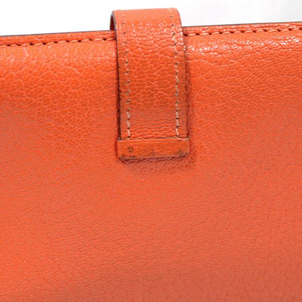 【中古】エルメス 財布 HERMES ベアンスフレ 二つ折り 長財布 シェーブル □H刻印 2004年 ゴールド金具 オレンジ YJH3707_画像4
