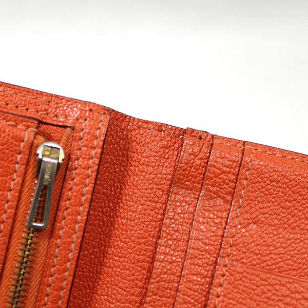 【中古】エルメス 財布 HERMES ベアンスフレ 二つ折り 長財布 シェーブル □H刻印 2004年 ゴールド金具 オレンジ YJH3707_画像9
