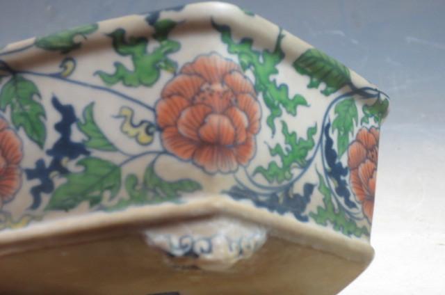 林陶雀 牡丹図六角盆栽鉢_画像4