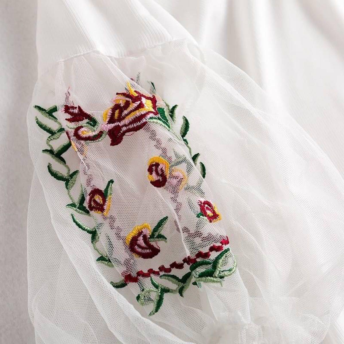 花柄 刺繍 オフショル シフォン ブラウス
