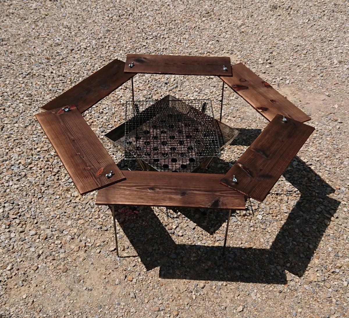 BBQ ヘキサテーブル 91×91cm 【組立簡単、軽量、収納コンパクト】
