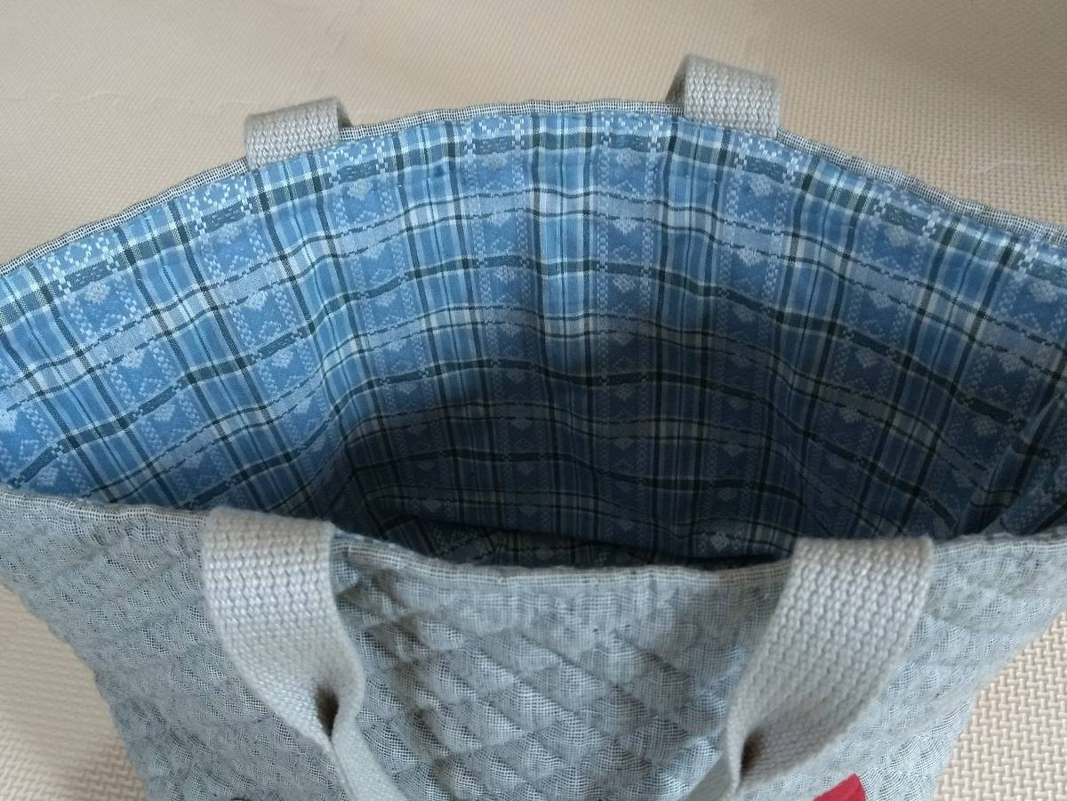 ハンドメイド トートバッグ かばん マイバッグ ハート グレー 手作り 手縫い 送料無料