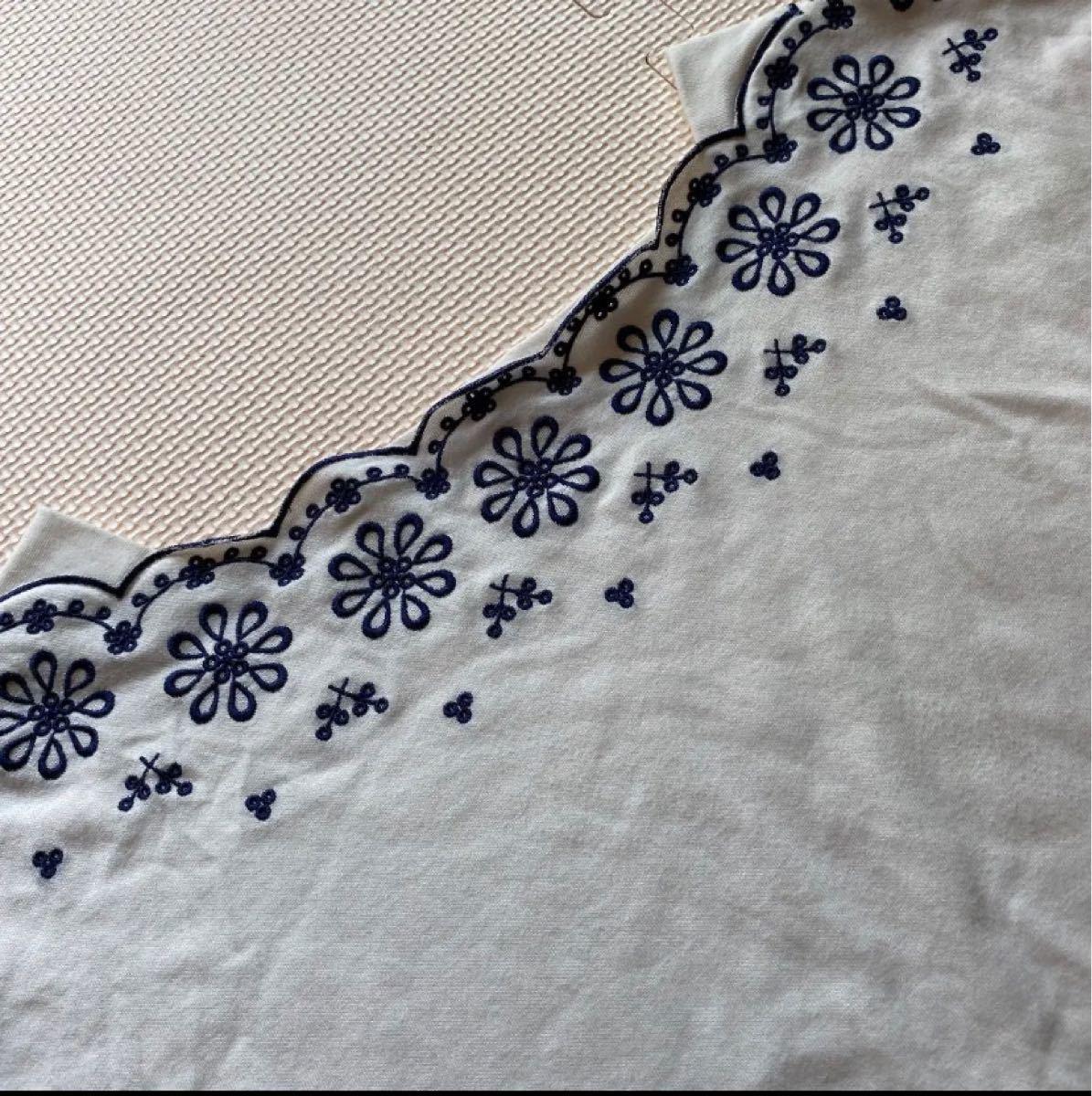 トップス カットソー ナチュラルビューティーベーシック 刺繍 半袖 Tシャツ