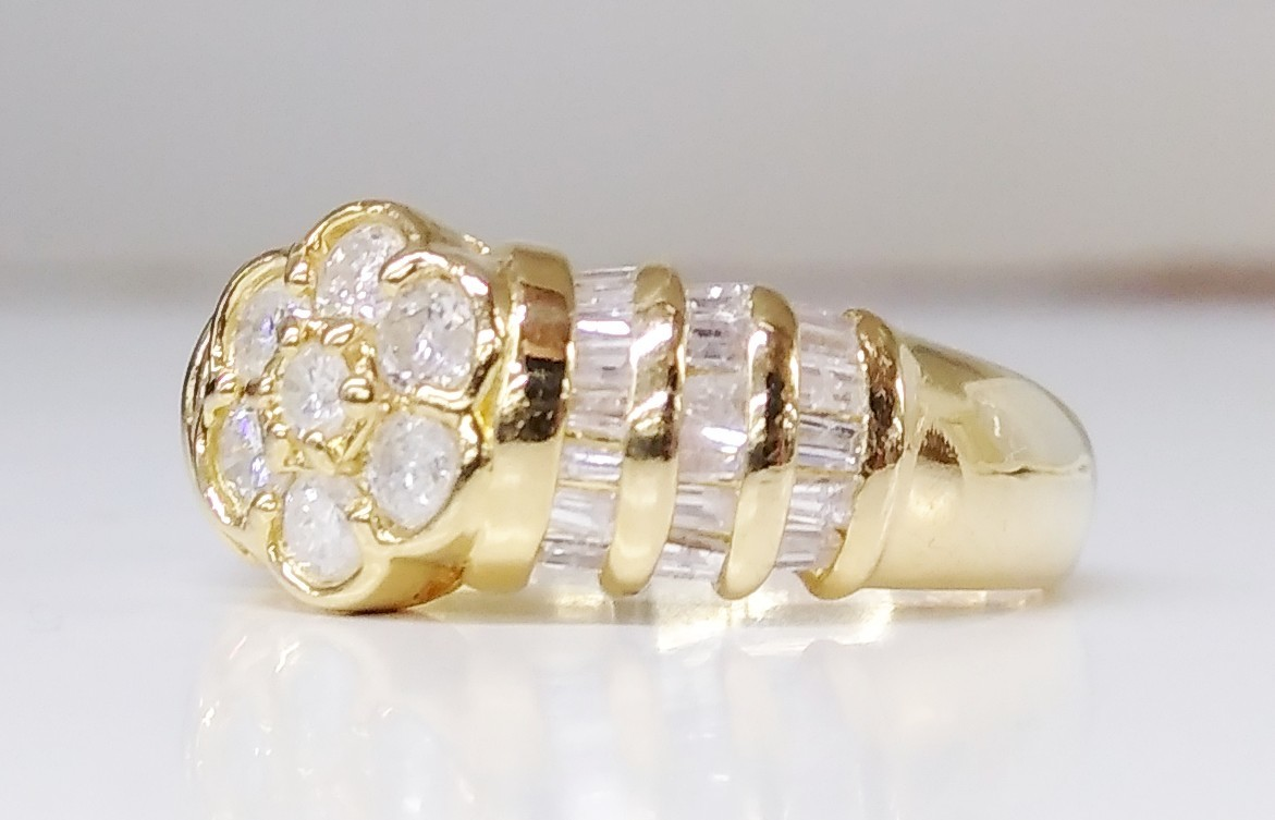 K18 750 ダイヤモンド D1.00ct 10.5号 フラワーモチーフ イエローゴールド リング 指輪 レディース アクセサリー