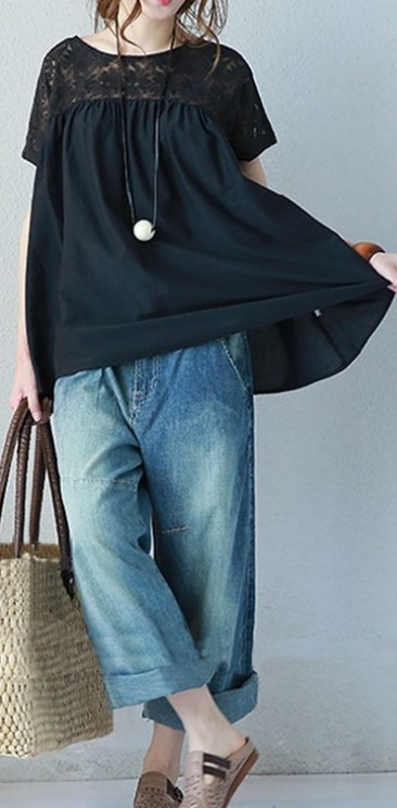 レース トップス ブラック Mサイズ 花柄 半袖 レディース ゆったり 体型カバー カットソー 着やせ tシャツ 可愛い おしゃれ かわいい