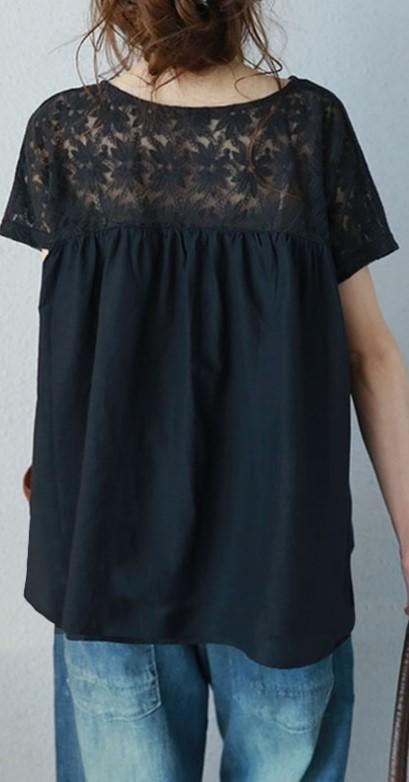 レース トップス ブラック 2XLサイズ 花柄 半袖 レディース ゆったり 体型カバー カットソー 着やせ tシャツ 可愛い おしゃれ かわいい