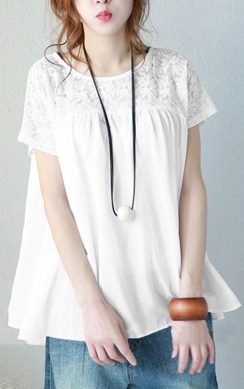 レース トップス ホワイト Mサイズ 花柄 半袖 レディース ゆったり 体型カバー カットソー 着やせ tシャツ 可愛い おしゃれ かわいい