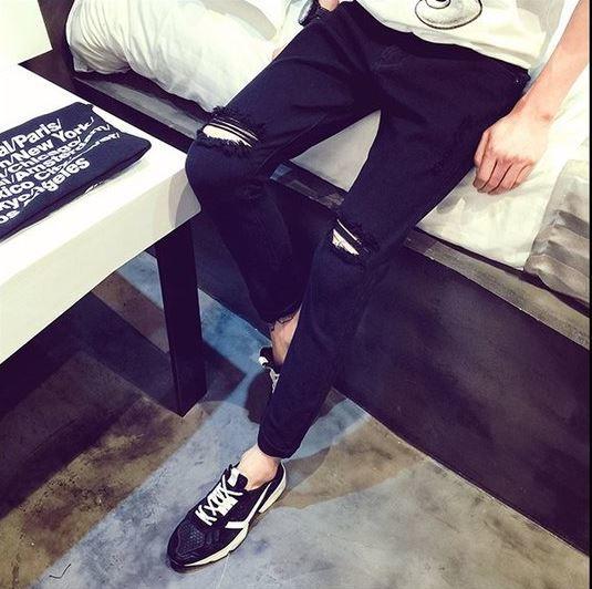 人気 ダメージ ジーンズ ブラック 32 メンズ デニムパンツ ストレート ダメージ加工 やわらか スリム タイト カジュアル 即納 格安